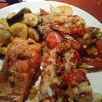 Salmon/lobster tail/shrimp and vegetables