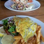 Whitebait fritter, salad and fries