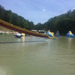 The obstacles in the lake are a blast! Great fun for adults and kids alike! Bring your own chair