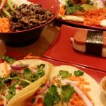 Bulgogi Rice Bowl, Spam Musubi, Vietnamese Pork Belly Tacos & Buns
