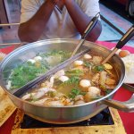 the chicken soup was good, while the tomyam soup was rather tasteless.