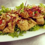 Pla Grob Rard Prik (Spicy Crispy Fish) Crispy fish filet, peppers and onion in spicy tamarind sa