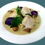 Gree Curry Fish, Tilaphia fillet cooked in Green curry with eggplant and bamboo shoots