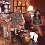 Enjoying a relaxing drink and cigar at the Shanri-La