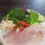 Delicious Summer Salad with Local leaves and ham.