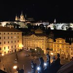 Perfect view of Prague Castle, St. Nicholas Church and Charles Bridge!