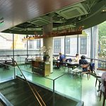 The second floor of Simply Thai Xintiandi, overlooking the plane trees.