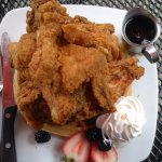 Bird's eye view Chicken and Waffles