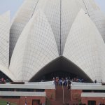 this is the photo of lotus temple in india taken from the front with its front view.