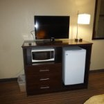 Nice (and working) refrigerator, microwave, television