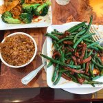 chicken and broccoli and beef and green beans