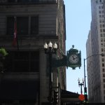 Iconic clock on the corner of the building