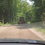 Stuck behind a vehicle that was smoothing out the dirt/rock road