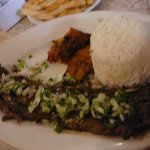 Yummy Churrasco with sweet plantains and white rice