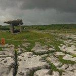 Kieran explaining the history of the Poulnabrone Dolmen portal tomb in the Burren
