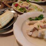 Corn, Salad, Stuffed Flounder
