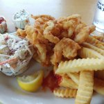 Fried shrimp and clam strips with slaw and fries