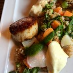 A pallet delight - Scallops, cooked perfectly with interesting sides.