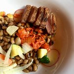 Duck with black-eyed peas, fennel and kimchee