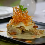 Open ravioli of scallops and prawns