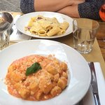 Carbonara rigatoni and gnocchi with tomato sauce and pecorino