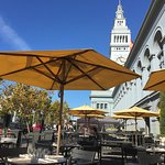View of the Ferry Building from the MarketBar outdoor dining.