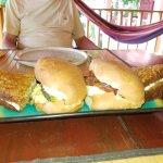 Breakfast sandwich and banana cake