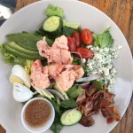 Delicious Blueberry Margarita, Lobster Cobb salad and lobster with corn and fries.
