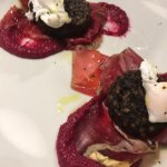 Griddles morcilla, Cecina, beetroot purée and poached quail egg