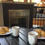 Breakfast by the fire on the patio? Yes indeed!!