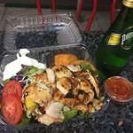 The chicken shawarma plates was very good the garlic sauce came with was superb it is a Greek pl
