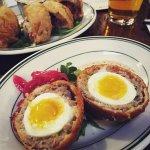 Scotch Eggs - Flora Butcher sausage, Bobkat Farm egg, creole honey mustard