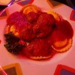 Ravioli with meatballs