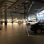 Cars getting staged to be delivered at the BMW headquarters during the factory tour