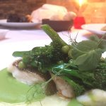 Lemon sole with green peas