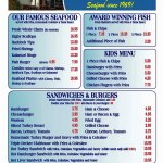 Menu, 1 of 2: Seafood, Fish, Kids, Sandwiches and Burgers, Sides