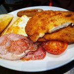 American Breakfast with chicken cutlets