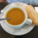 soup (sweet potato and pepper, I think)