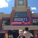Trolley stop is right next to the Chocolate world building
