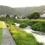 Looking west to the bridge over which one finds the onsen.