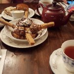 "Tea, scones, and ""Alice's'mores"" (a messy, yummy dessert)"