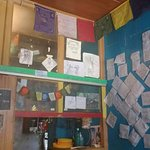 Cafe wall with visitor review