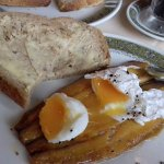 Breakfast, on the second day Kippers and poached egg with brown B&B