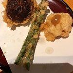 Shiitake mushroom (left), asparagus (middle) and unagi with plum sauce (right).