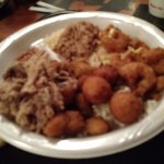 BBQ, hash & rice, okra, hush puppies, slaw