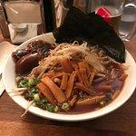 Shoyu ramen with nori, mushrooms and bamboo extras