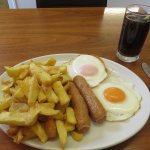 link sausage double egg and chips