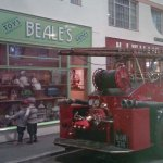 Vintage fire engine and toy shop