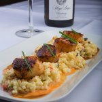 Seared Day Boat Scallops (Wild Mushroom Risotto, Roasted Pepper Beurre Blanc)