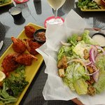 Appetizer coconut shrimp and side salad. YUMMY!